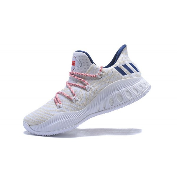Men's New Adidas Crazy Explosive Low White/Royal Blue/Red Shoes