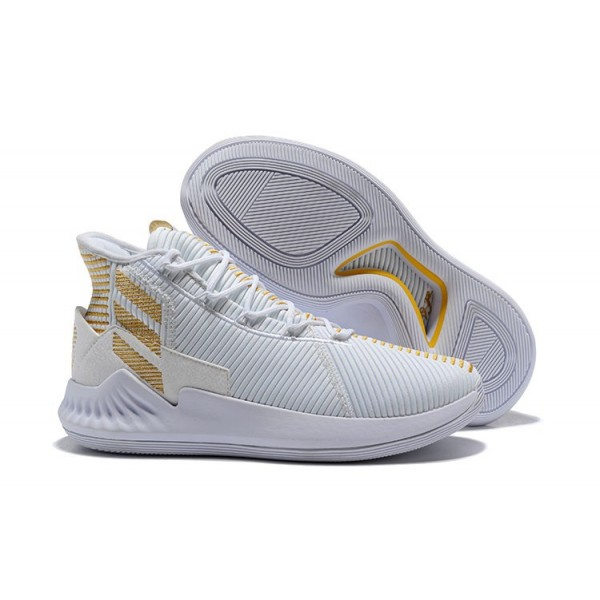 Men's 2018 Adidas D Rose 9 White Gold