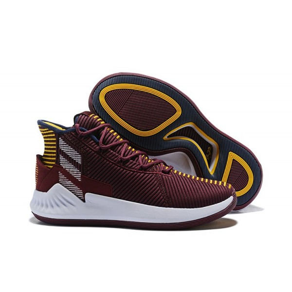 Men's 2018 Adidas D Rose 9 Vintage Wine/White/Yellow