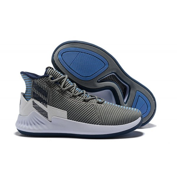 Men's 2018 New Adidas D Rose 9 Grey Blue White Shoes