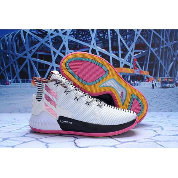 Men's Adidas D Rose 9 White Black Pink BB7658