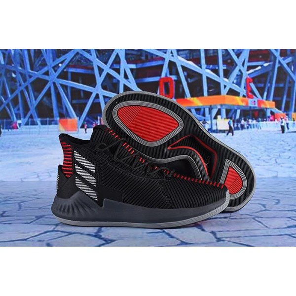 Men's Latest Adidas D Rose 9 Black/Red/White