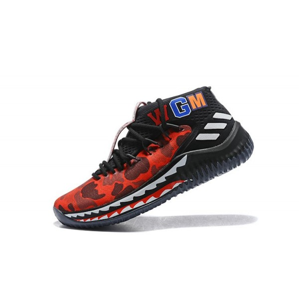 Men's 2018 BAPE x Adidas Dame 4 Red Camo Black/Red/White