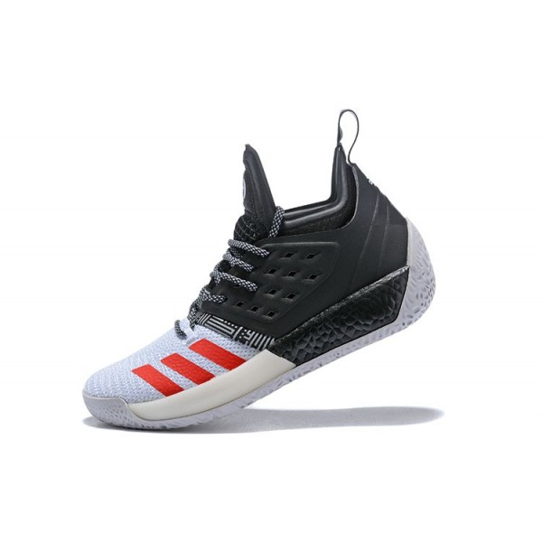 Men's New Adidas Harden Vol.2 Black/White/Red Shoes
