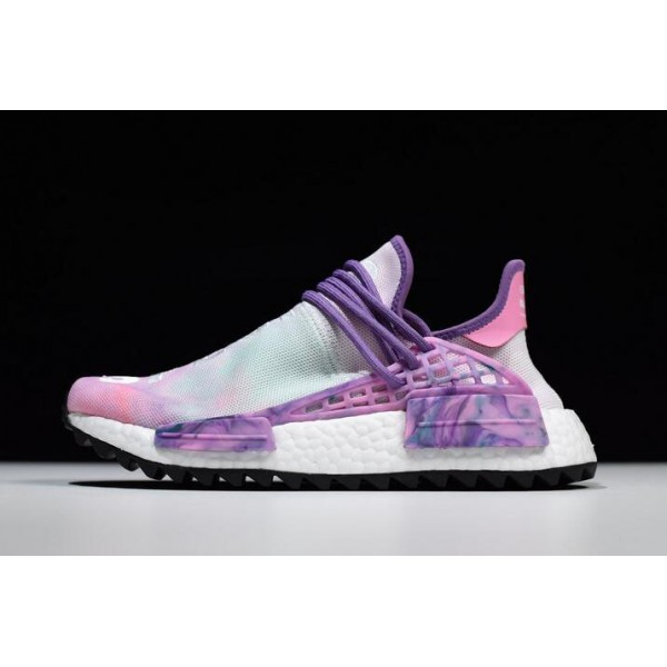 Men's/Women's Pharrell x Adidas NMD Hu Trail Holi Pink Glow/Green/Lab Purple