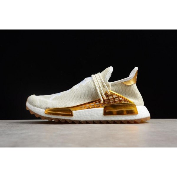 Men's/Women's Pharrell x Adidas NMD Human Race Metallic Gold/Footwear White