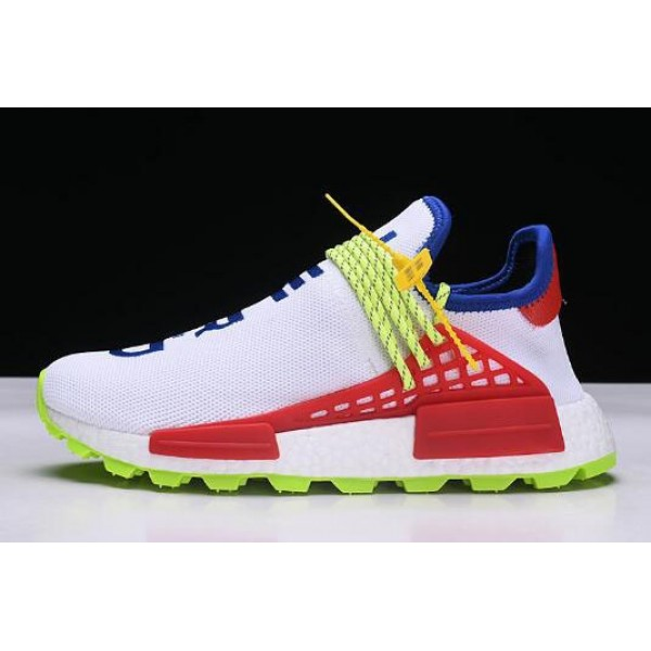 Men's/Women's Pharrell x NMD Human Race Trail Homecoming White Blue Red