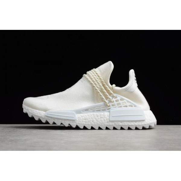 Men's Pharrell x Adidas NMD Hu Trail Blank Canvas Cream White