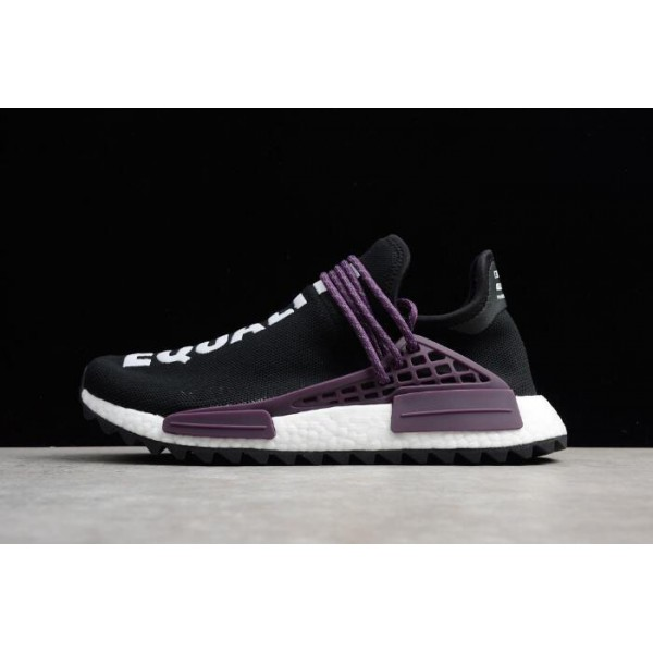 Men's/Women's Pharrell x Adidas NMD Hu Trail Equality Core Black/Purple/White