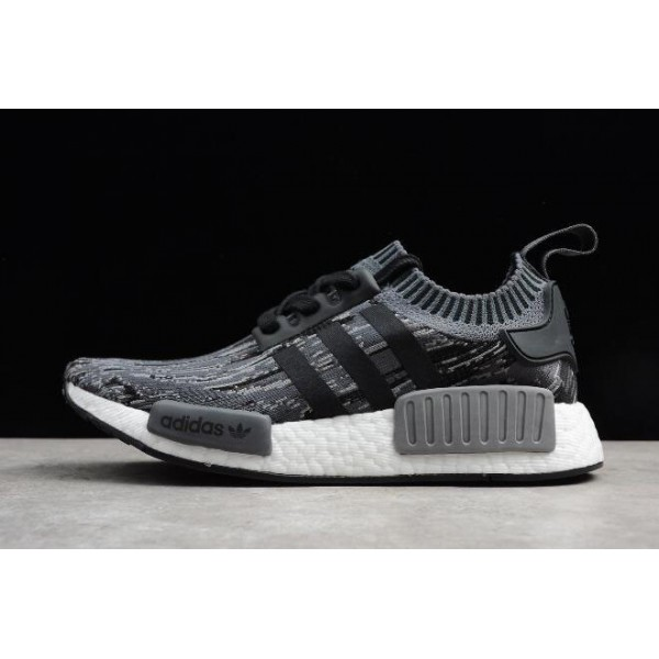 Men's Adidas NMD R1 Primeknit Glich Camo Black/Grey Three