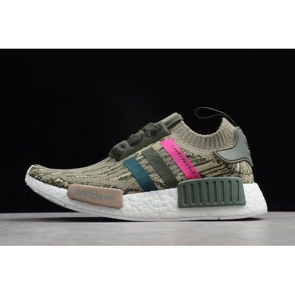 Men's/Women's Adidas NMD R1 Primeknit Green Night/Shock Pink