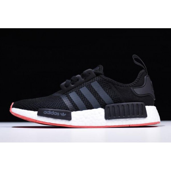 Men's New Adidas NMD R1 Black/Carbon/Trace Scarlet Running Shoes