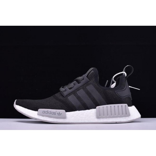 Men's New Adidas NMD R1 Primeknit Black Reflective Black/Grey/White