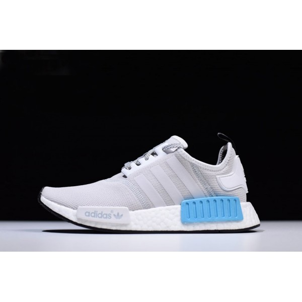 Men's/Women's New Adidas NMD R1 Runner Light Grey/White/Blue Shoes