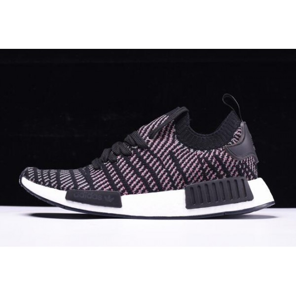 Men's/Women's New Adidas NMD R1 STLT Primeknit Core Black/Pink/White