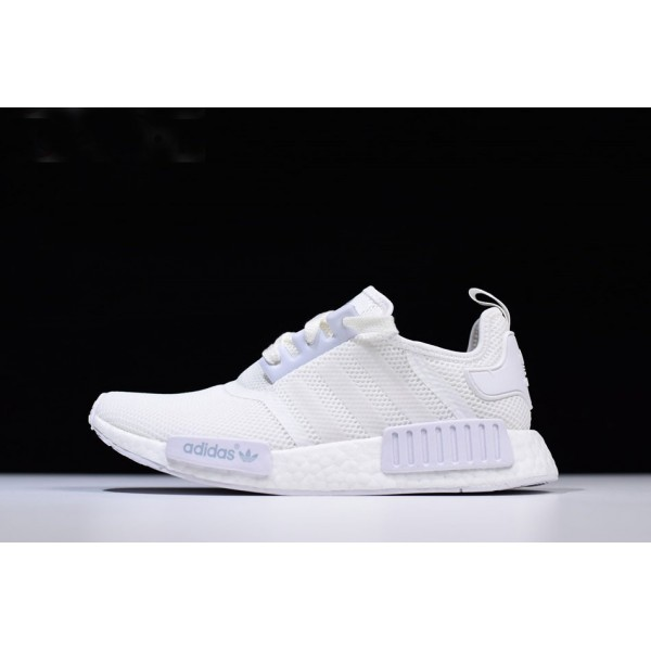 Men's New Adidas NMD R1 Triple White Runner Shoes
