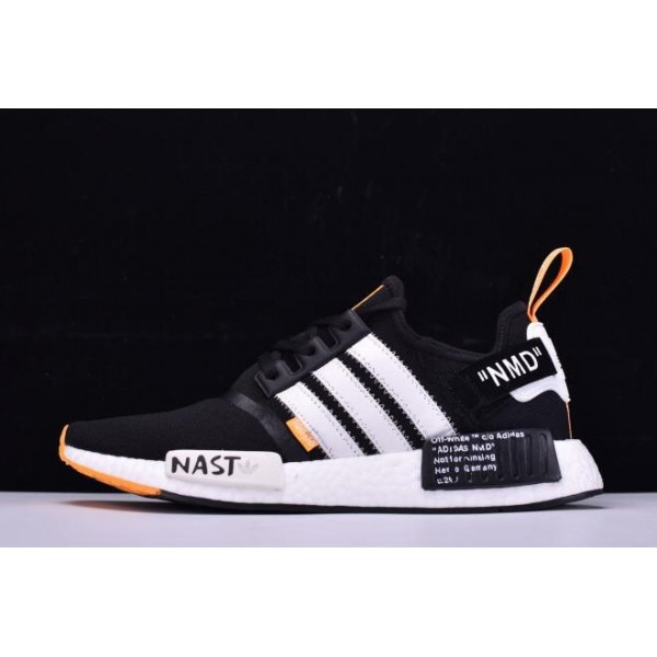 Men's OFF/White x Adidas Originals NMD R1 Black/White/Orange