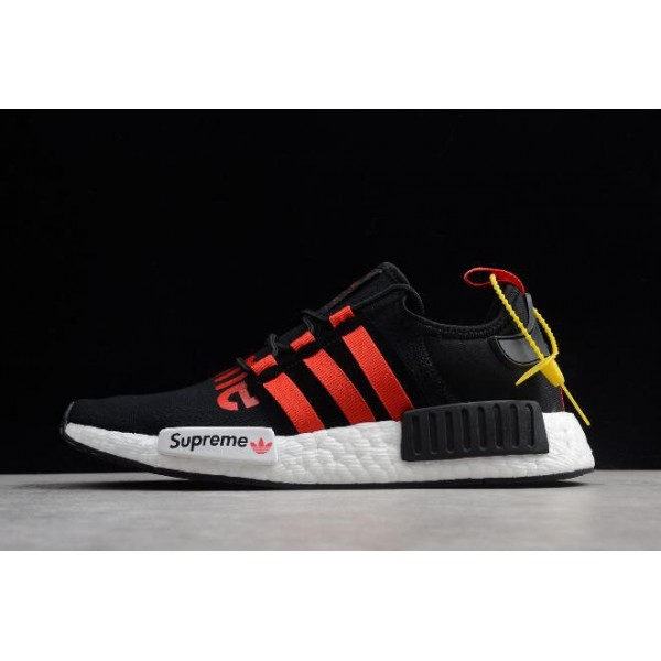 Men's/Women's Supreme x Adidas NMD R1 Black/Gym Red/White