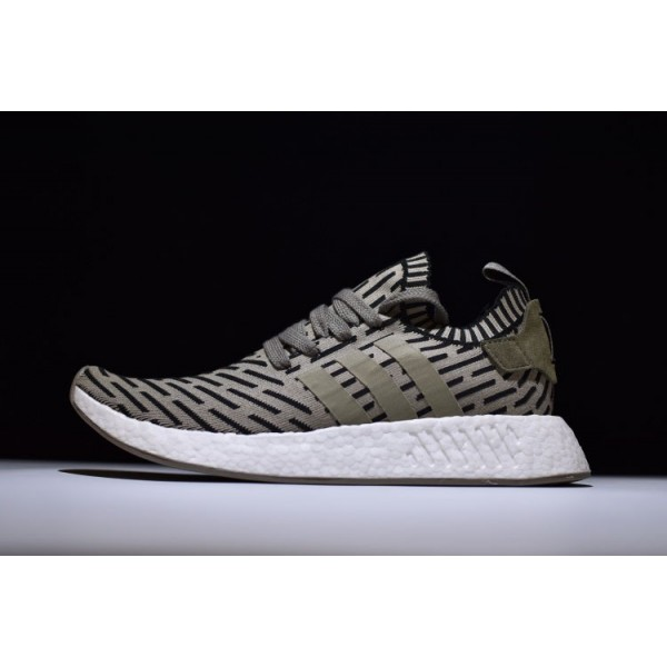 Men's New Adidas NMD R2 Primeknit Olive Green/Trace Cargo