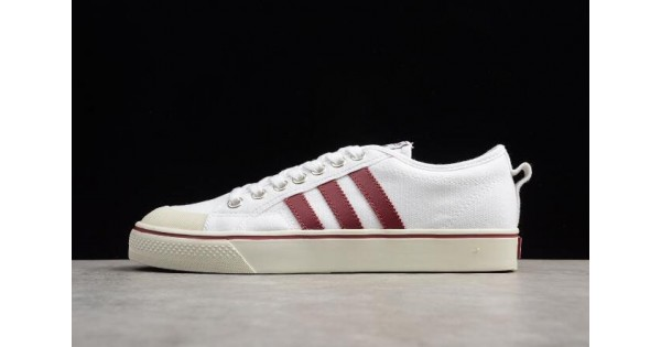 Adidas Nizza White/Red Canvas Shoes