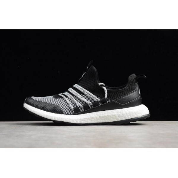 Men's New Adidas Pure Boost Black Grey White Running Shoes