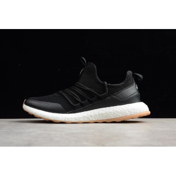 Men's New Adidas Pure Boost Black/White/Gum Running Shoes