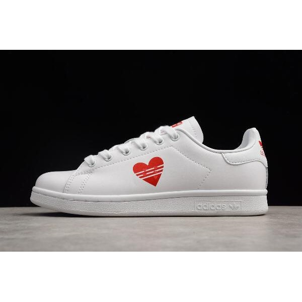 Men's/Women's Custom Adidas Stan Smith Valentines Day White/Red