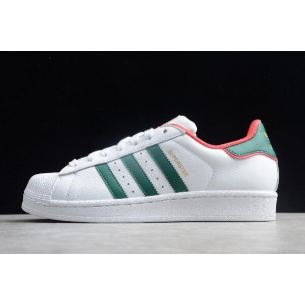Men's/Women's Adidas Superstar White Red Green Unisex Leather Sneakers