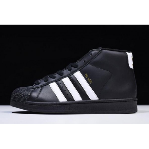 Men's/Women's New Adidas Superstar Pro Model Black/White/Metallic Gold