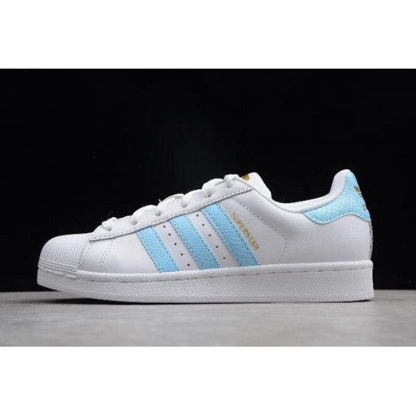 Women's Adidas Superstar White/Blue/Metallic/Gold