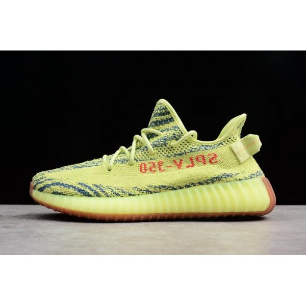Men's/Women's 2018 Adidas Yeezy Boost 350 V2 Semi Frozen Yellow/Raw Steel/Red
