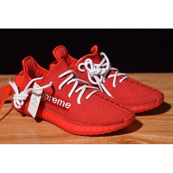 Men's/Women's Supreme x Adidas Yeezy Boost 350 V2 Red/White
